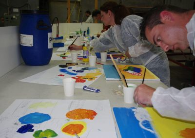 participants doing art paintings