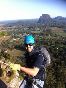 man doing selfie on a mountain