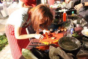 woman slicing