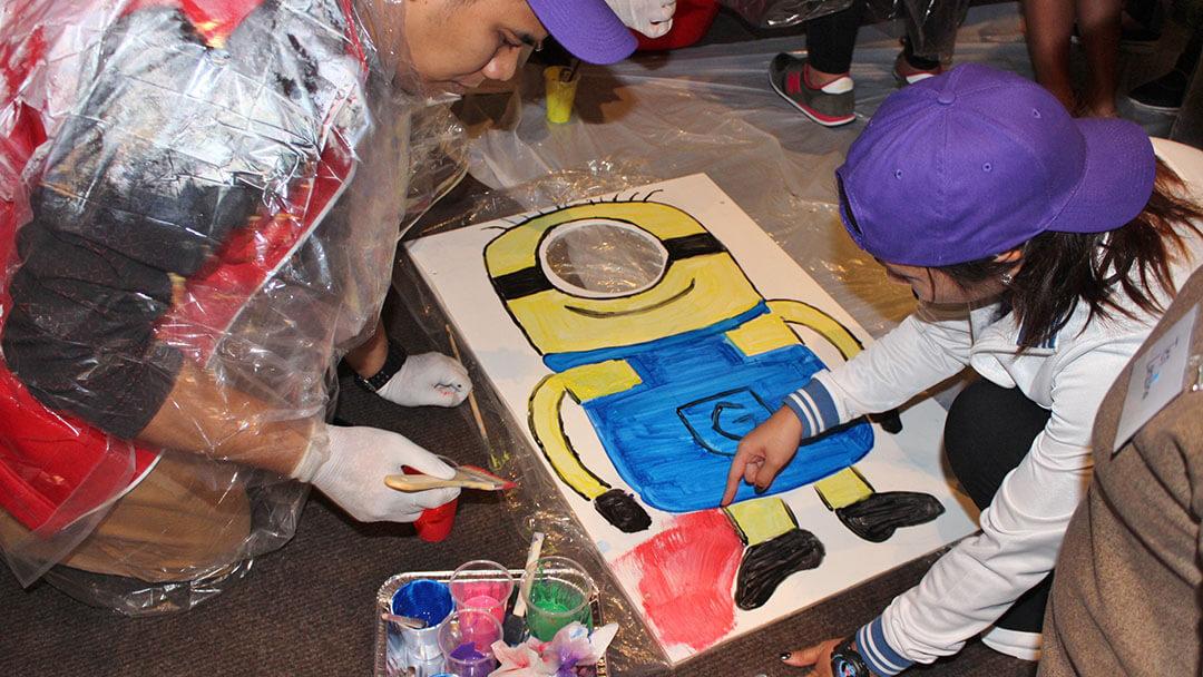 A team creating a minion art