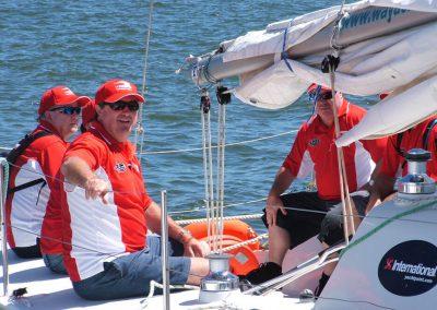 team building activity on a yacht